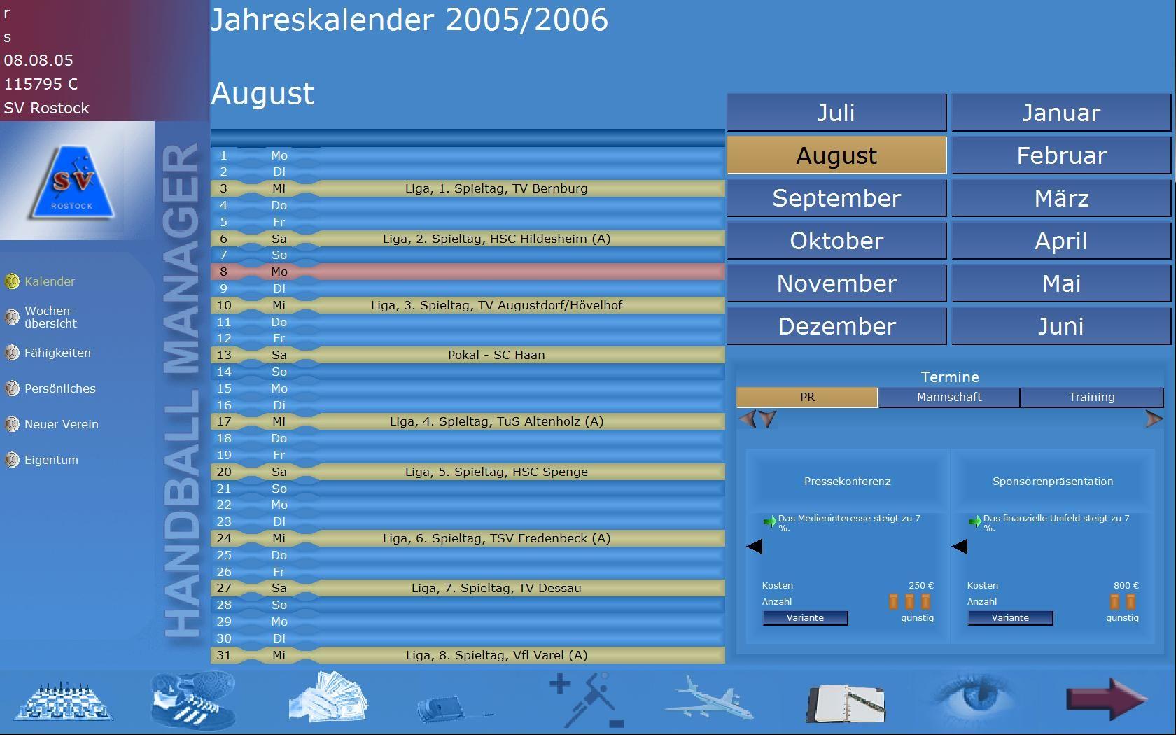 Screenshot af Handball Manager