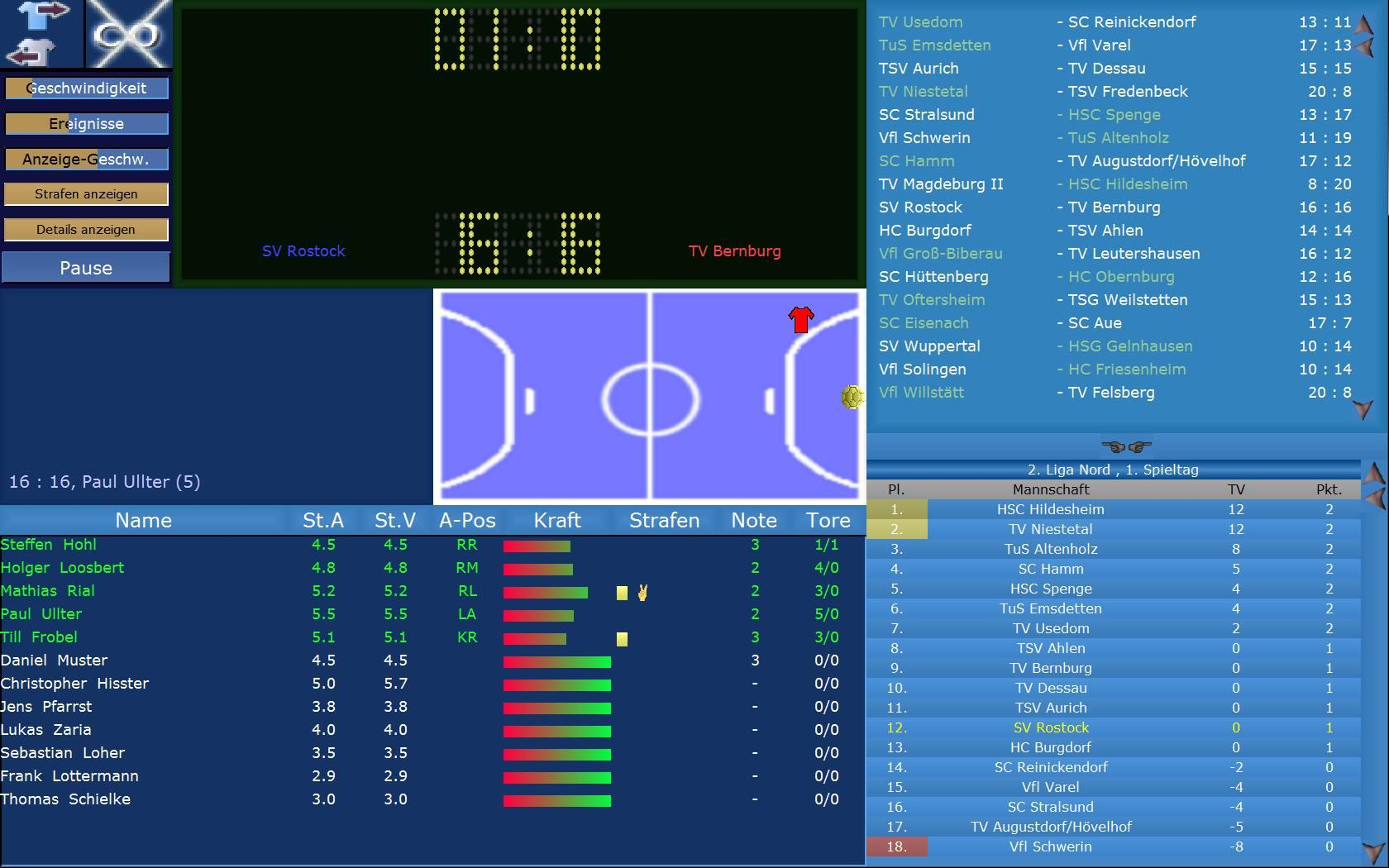 Screenshot af Handball Manager
