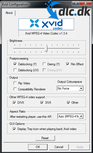 Screenshot af Xvid Codec