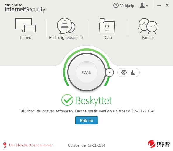 Screenshot af Trend Micro Internet Security