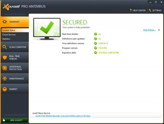Screenshot af Avast Professional Edition