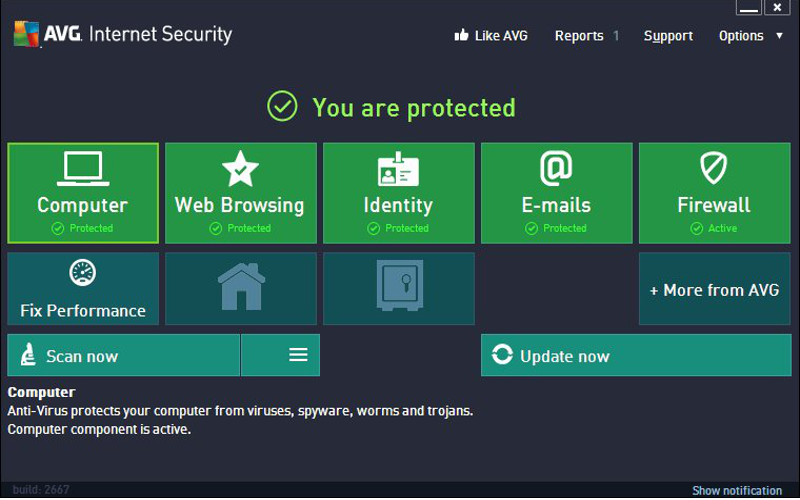Screenshot af AVG Anti-Virus plus Firewall
