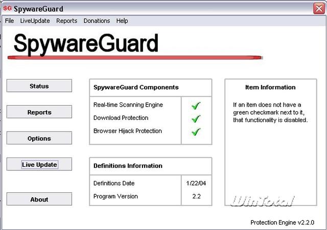 Screenshot af SpywareGuard