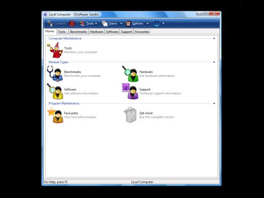 Screenshot af SiSoftware Sandra Lite