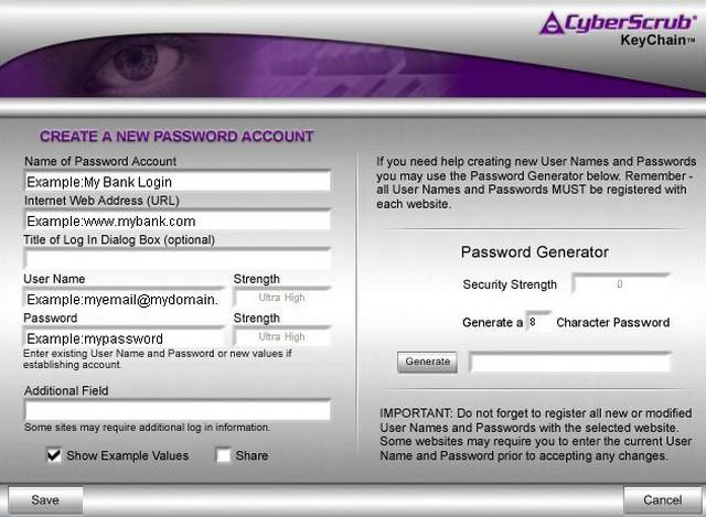 Screenshot af CyberScrub KeyChain