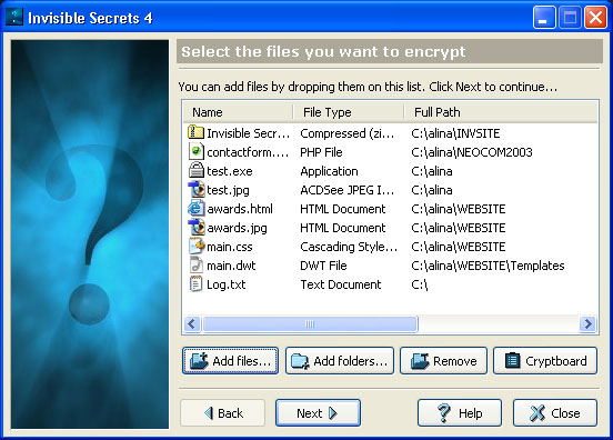 Screenshot af Invisible Secrets
