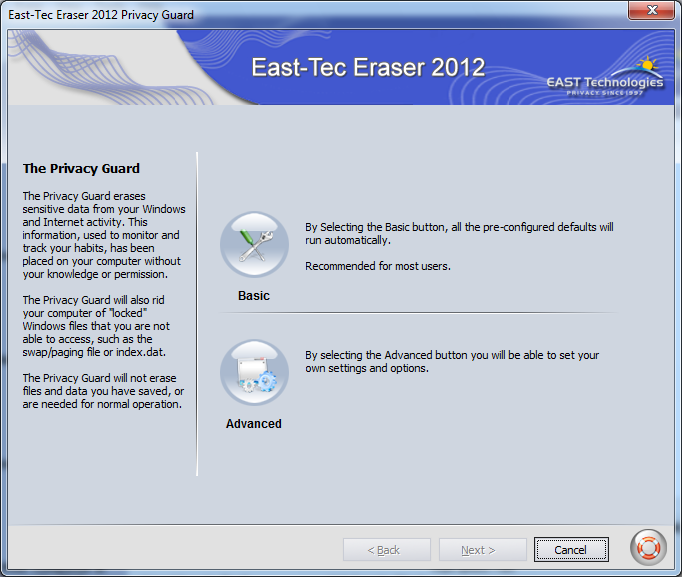 Screenshot af East-Tec Eraser