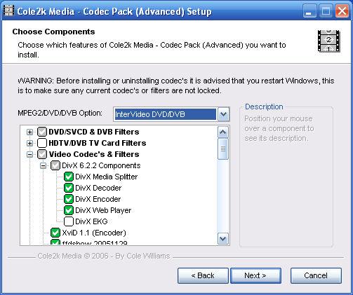 Screenshot af Cole2k Media Codec Pack Advanced