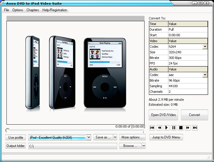 Screenshot af Avex DVD to iPod Video Suite