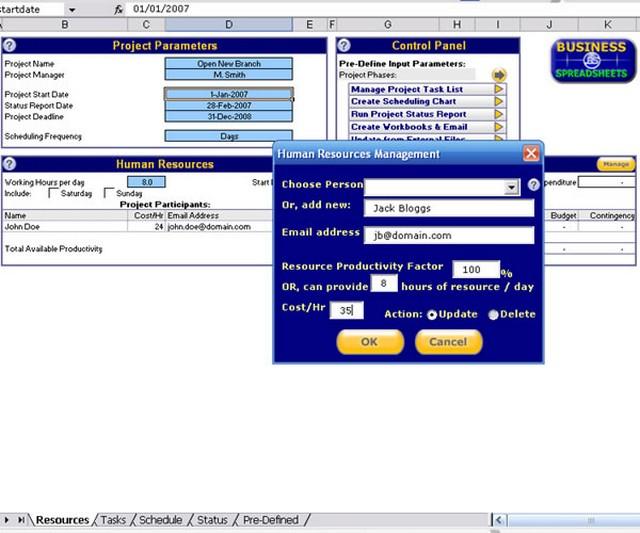 Screenshot af Excel Project Management Template