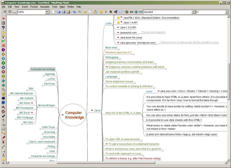 Screenshot af FreeMind