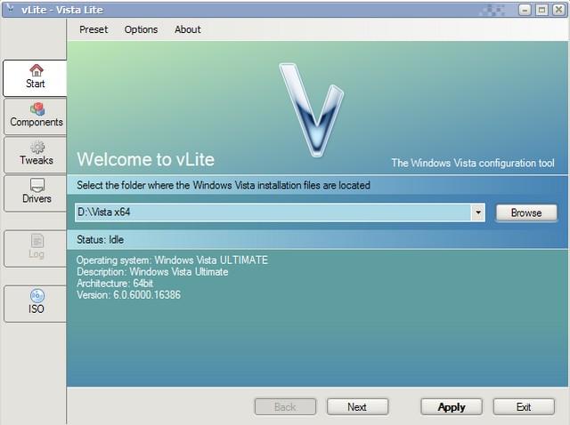 Screenshot af vLite (Vista Lite)