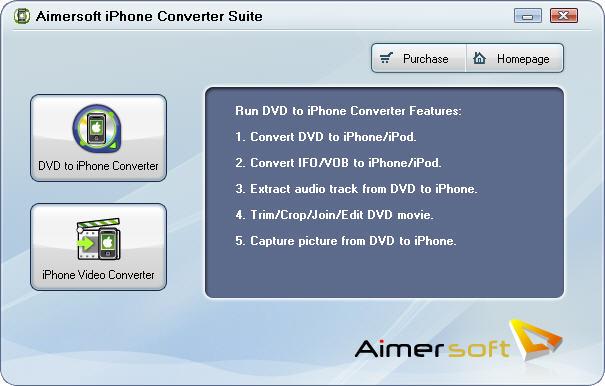 Screenshot af Aimersoft iPhone Converter Suite