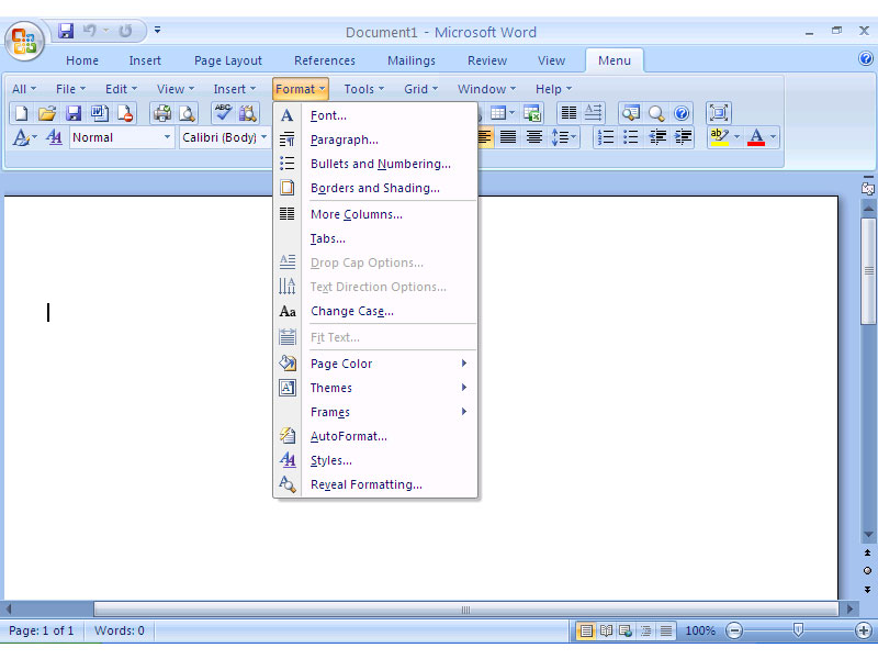 Screenshot af Classic Menu for Word