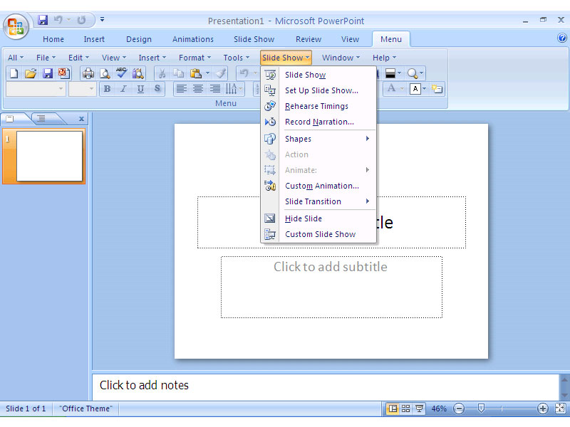 Screenshot af Classic Menu for PowerPoint