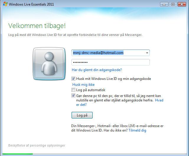 Screenshot af Windows Live Messenger (dansk)