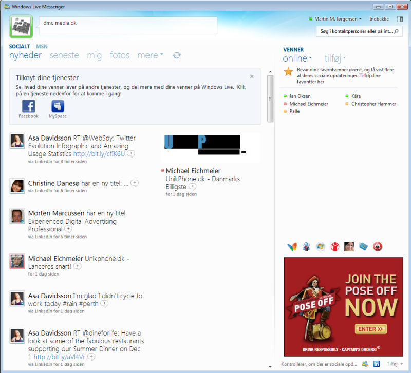 Screenshot af Windows Live Messenger (dansk)
