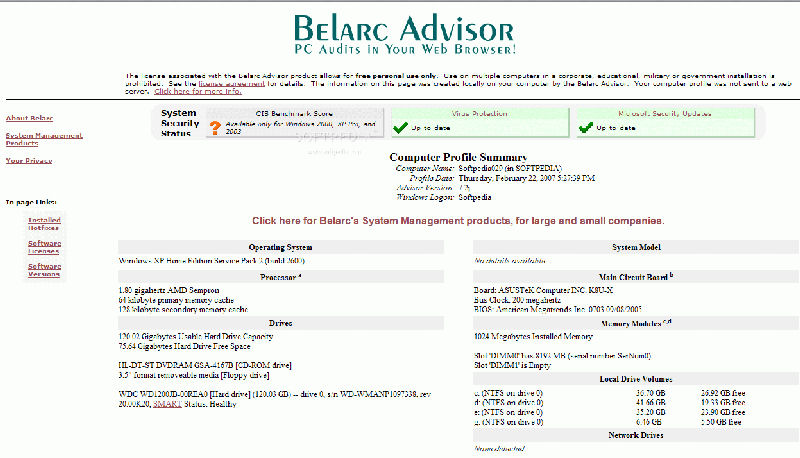 Screenshot af Belarc Advisor