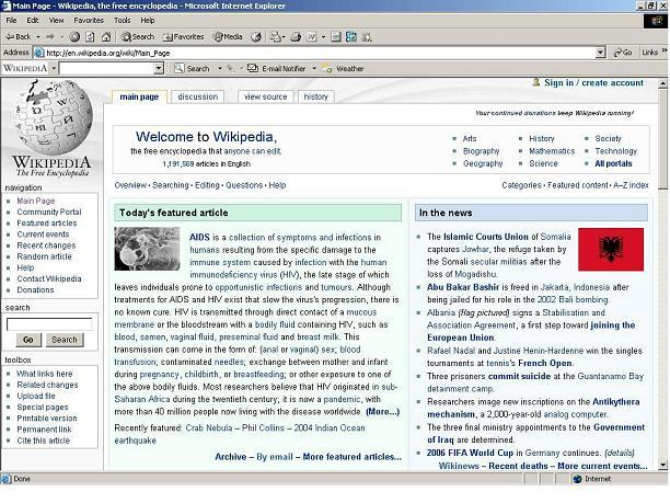 Screenshot af Wikipedia Toolbar for IE