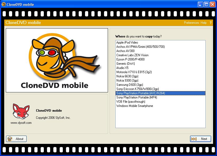 Screenshot af CloneDVD Mobile