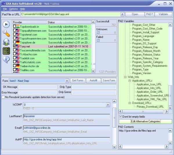 Screenshot af GSA Auto SoftSubmit