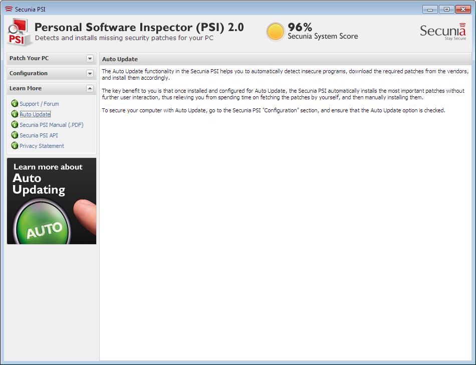 Screenshot af Secunia Personal Software Inspector (PSI - dansk)