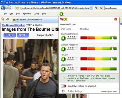 Screenshot af Web of Trust (WOT)