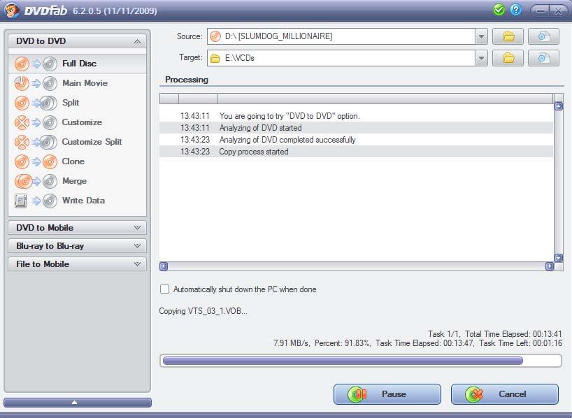 Screenshot af DVDFab HD Decrypter