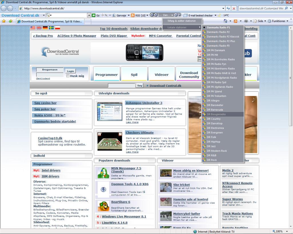 Screenshot af Download Central.dk Toolbar
