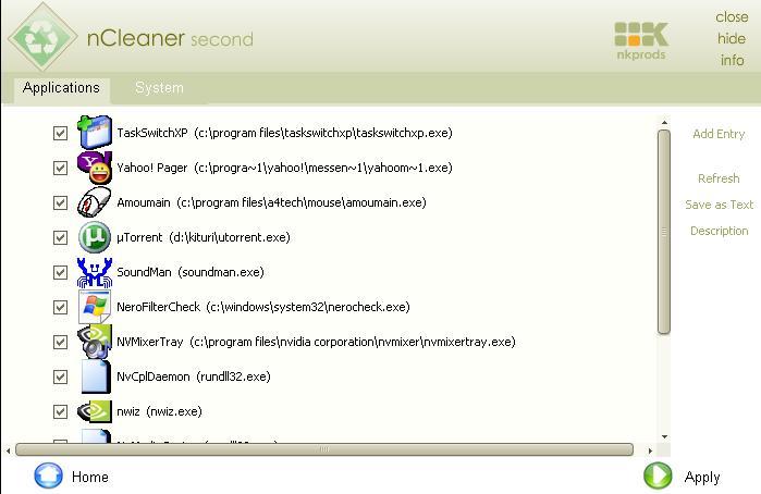 Screenshot af nCleaner