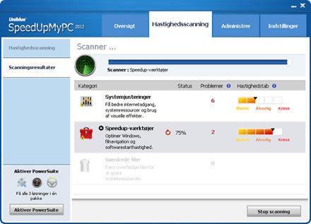 Screenshot af SpeedUpMyPC (dansk)