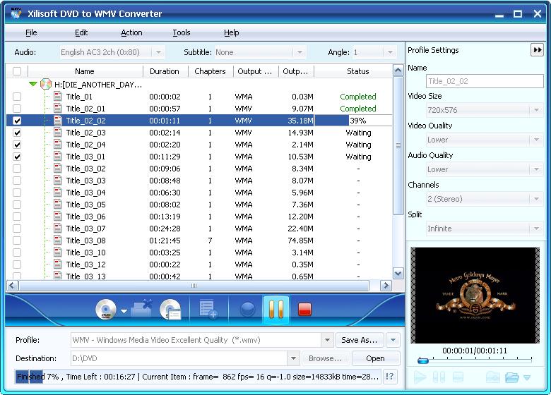 Screenshot af Xilisoft DVD to WMV Converter