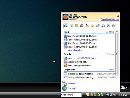 Screenshot af Copernic Desktop Search Corporate Edition