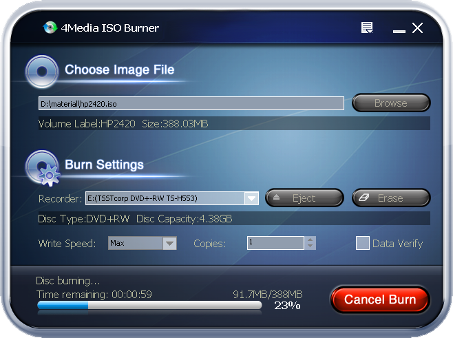 Screenshot af 4Media ISO Burner