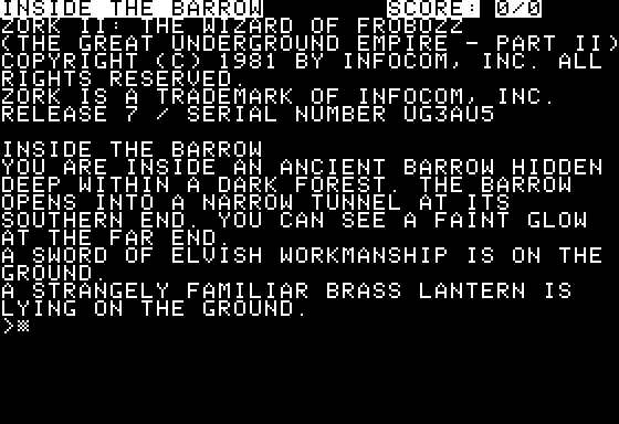 Screenshot af Zork 2 - The Wizard of Frobozz