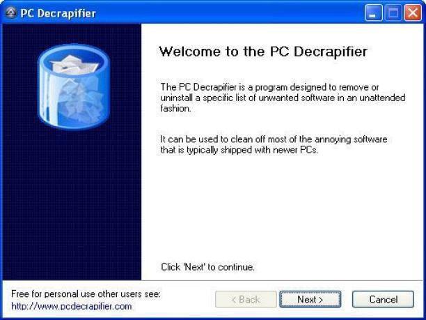 Screenshot af PC Decrapifier