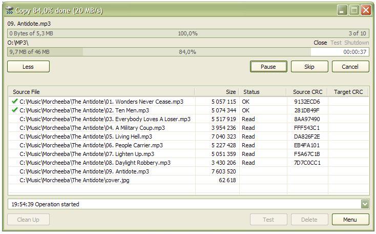 Screenshot af TeraCopy