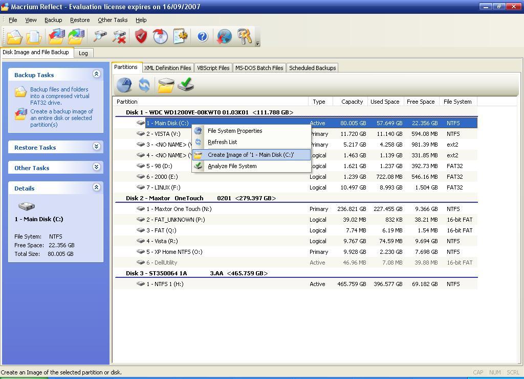 Screenshot af Macrium Reflect