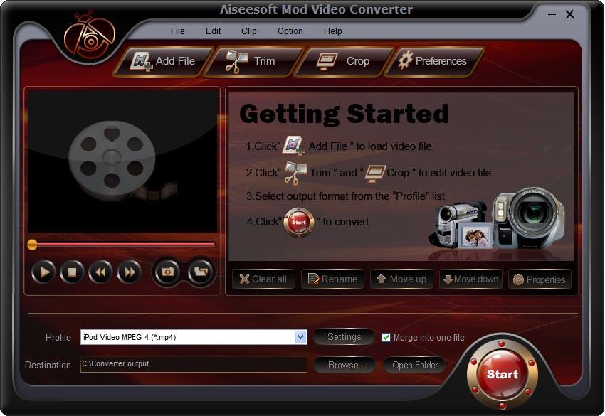 Screenshot af Aiseesoft Mod Video Converter