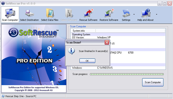 Screenshot af SoftRescue Pro Edition