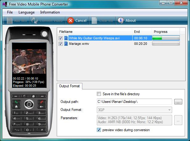 Screenshot af Free Video Mobile Phone Converter
