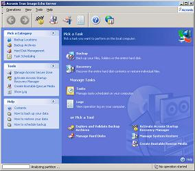 Screenshot af Acronis True Image Echo Server for Windows