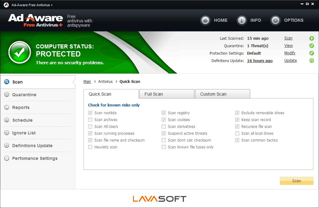 Screenshot af Ad-Aware Free Antivirus+