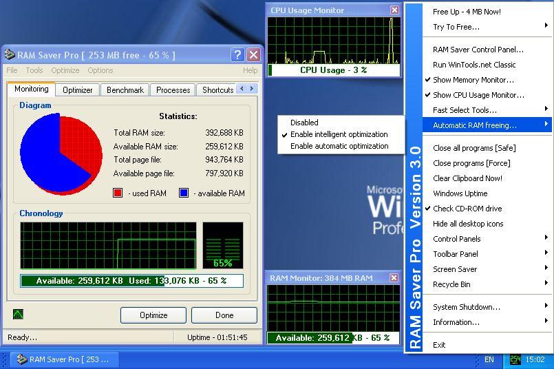 Screenshot af RAM Saver Professional