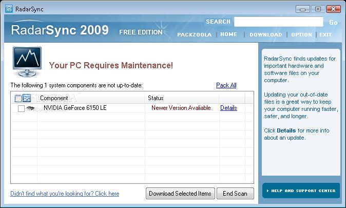 Screenshot af RadarSync PC Updater