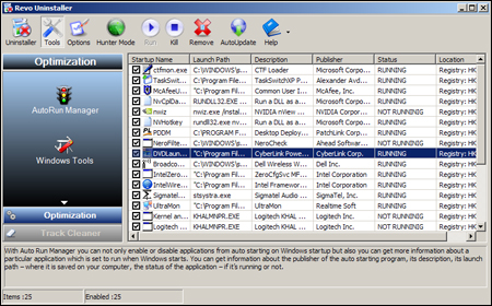 Screenshot af Revo Uninstaller Free