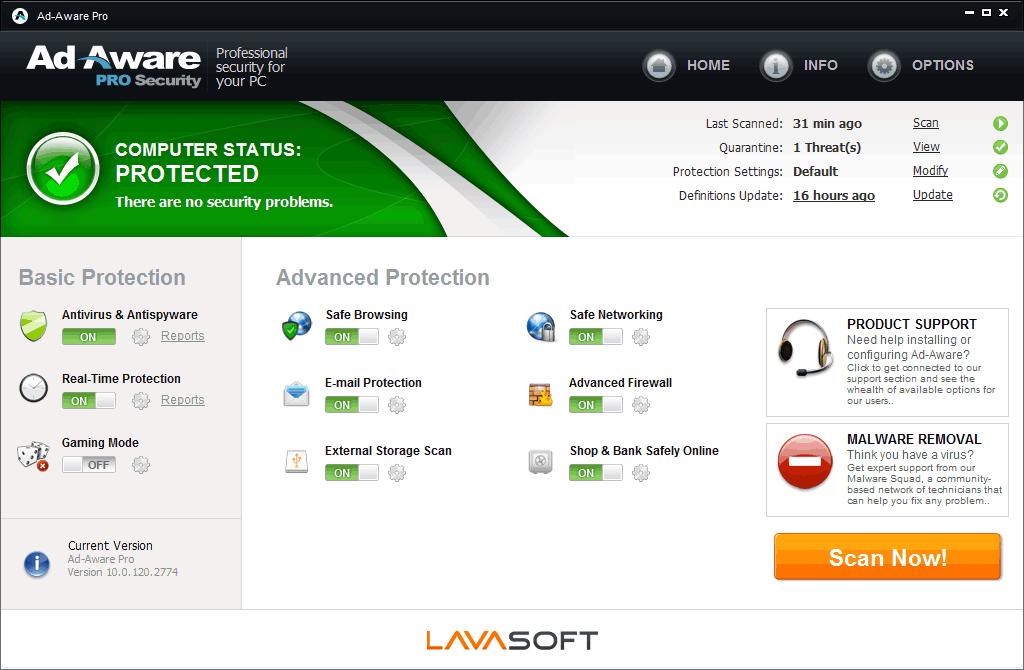 Screenshot af Ad-Aware Pro Security