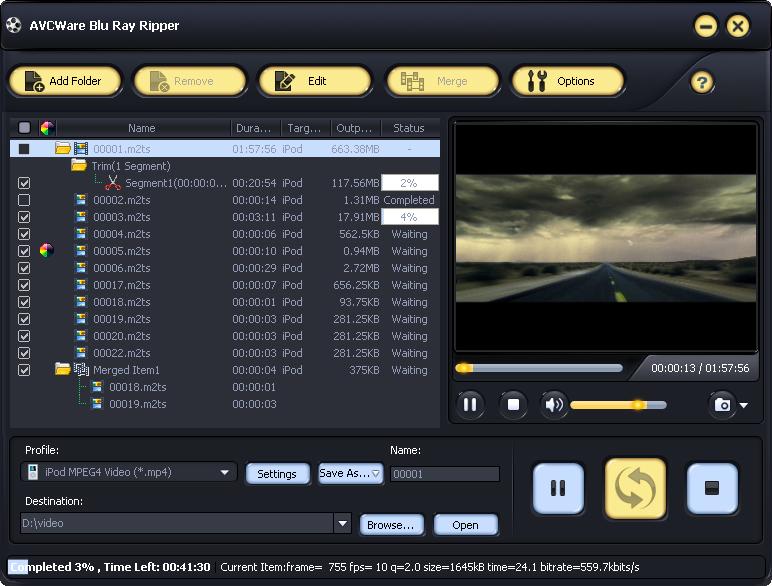 Screenshot af AVCWare Blu Ray Ripper
