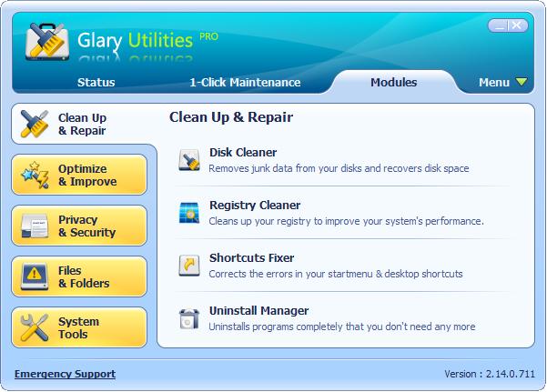 Screenshot af Glary Utilities Pro