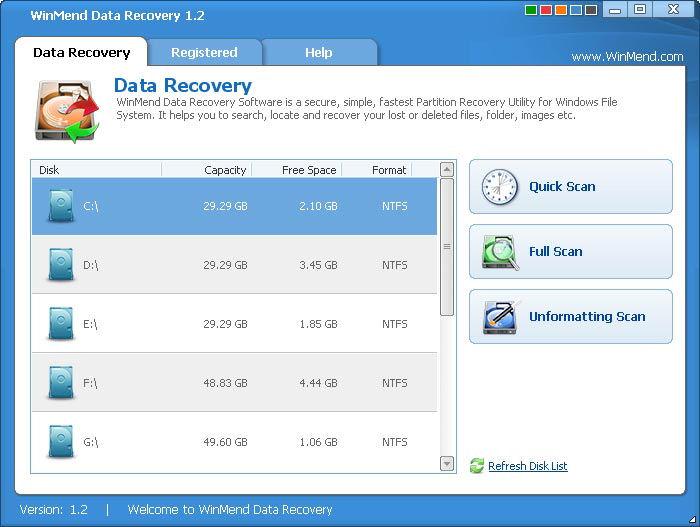 Screenshot af WinMend Data Recovery